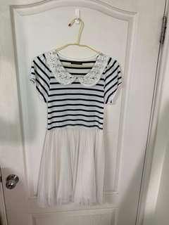 正韓🇰🇷~氣質條紋拼接紗裙短袖洋裝 喜宴 小洋裝