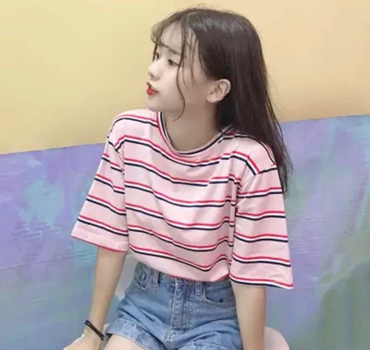 91e56e5d2a43b3 742 tumblr basic pastel stripe ulzzang tee   shirt