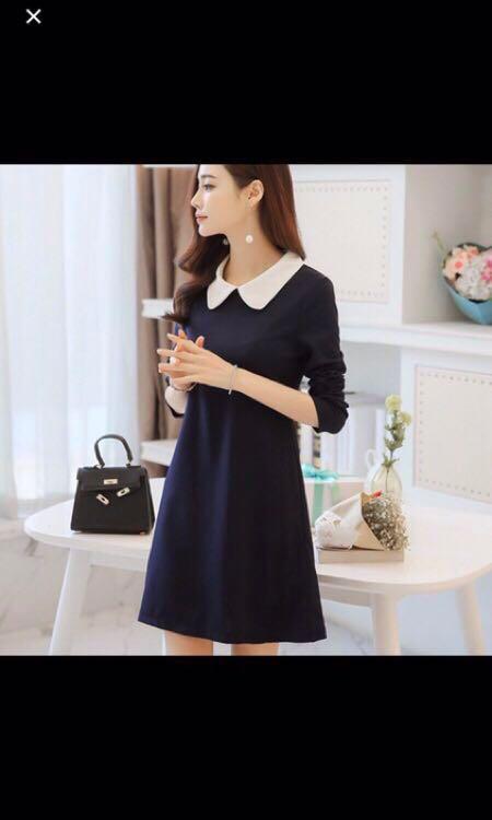 (全新)深藍色洋裝 M