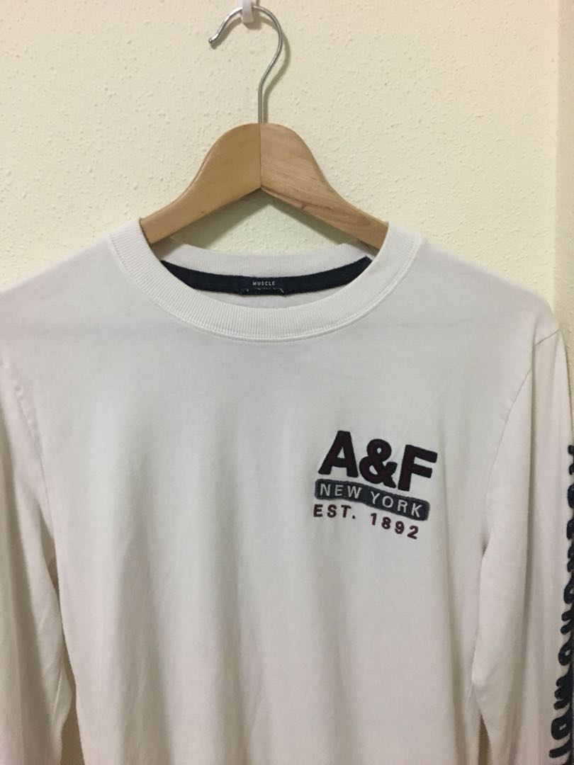 A F Long Sleeve Muscle Tee in Cream 668f855efd6a