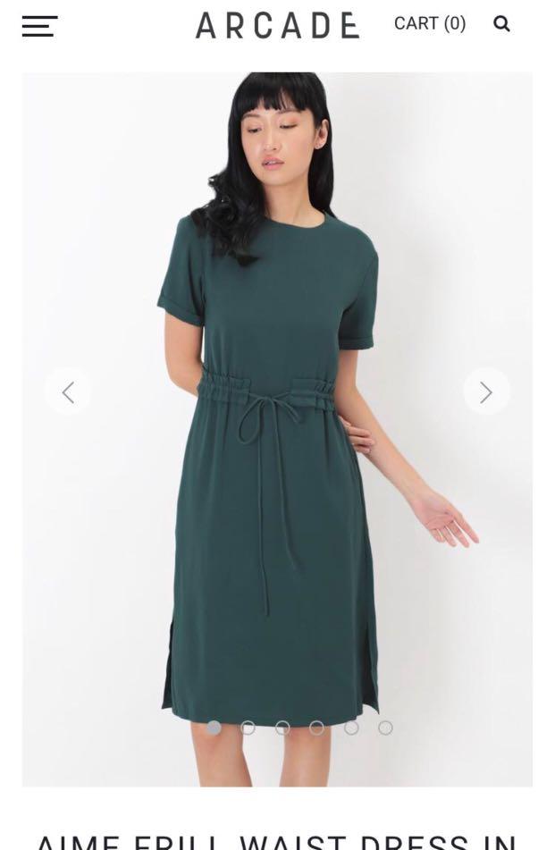 db4a959f473ff4 AFA Aime Frill Waist Dress in Forest, Women's Fashion, Clothes ...