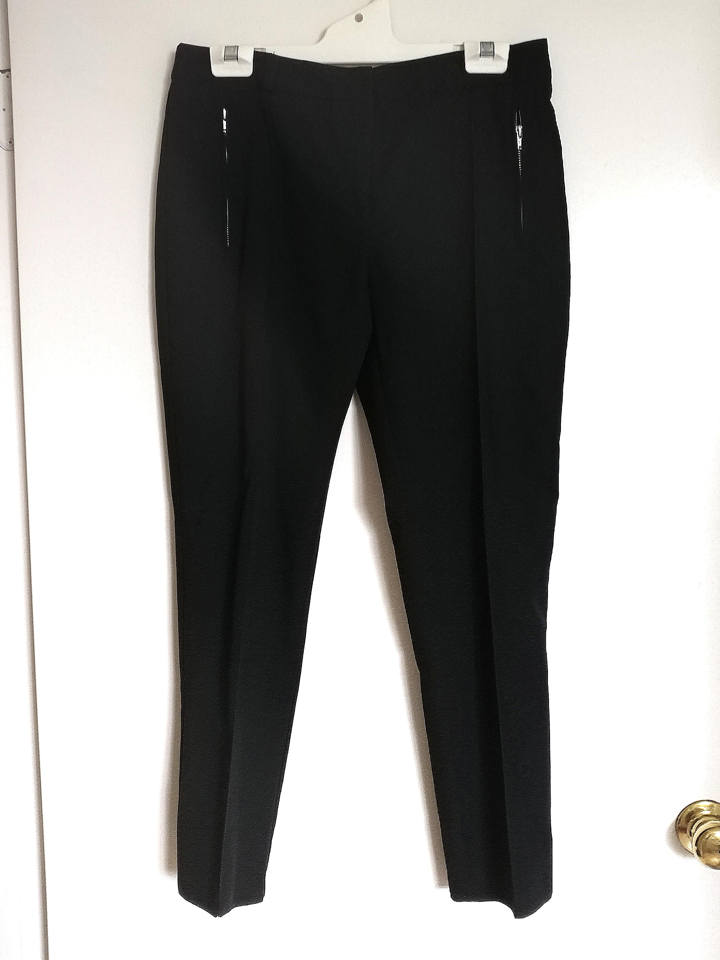 ASOS Black Office Pants with Silver Zip Pockets AU10