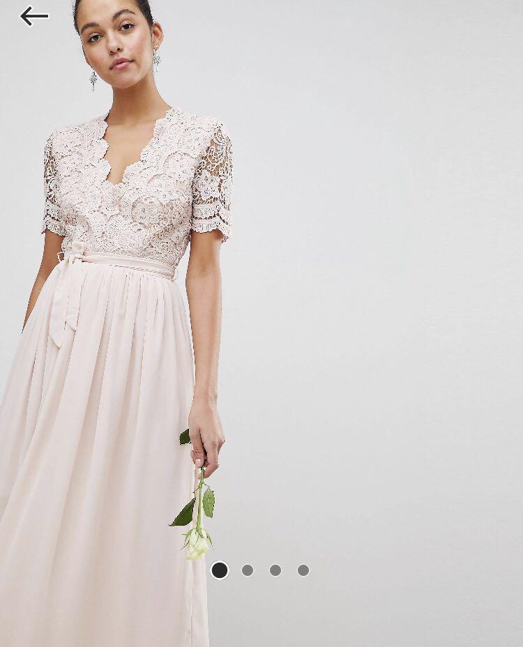 548e1772ee0 ASOS (Club L) Dusty Pink Crochet Lace Maxi Bridesmaid Dress