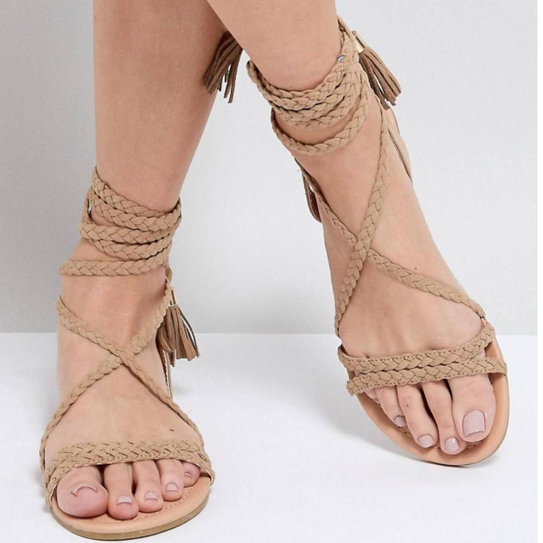 30798c875a3 ASOS FAYLA Tie Leg Plaited Flat Sandals