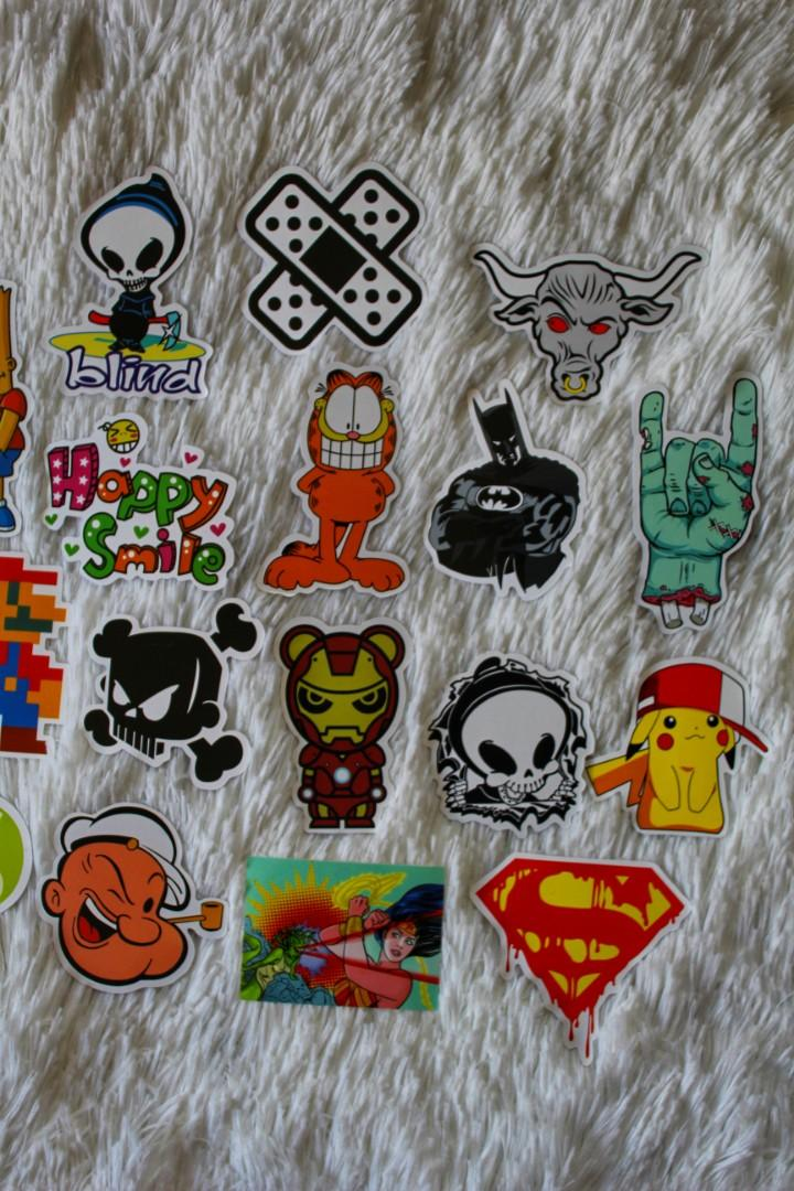 ASSORTED STICKERS • GLOSSY FINISH • CARTOON CHARACTERS • POP CULTURE • SKATEBOARD STICKERS