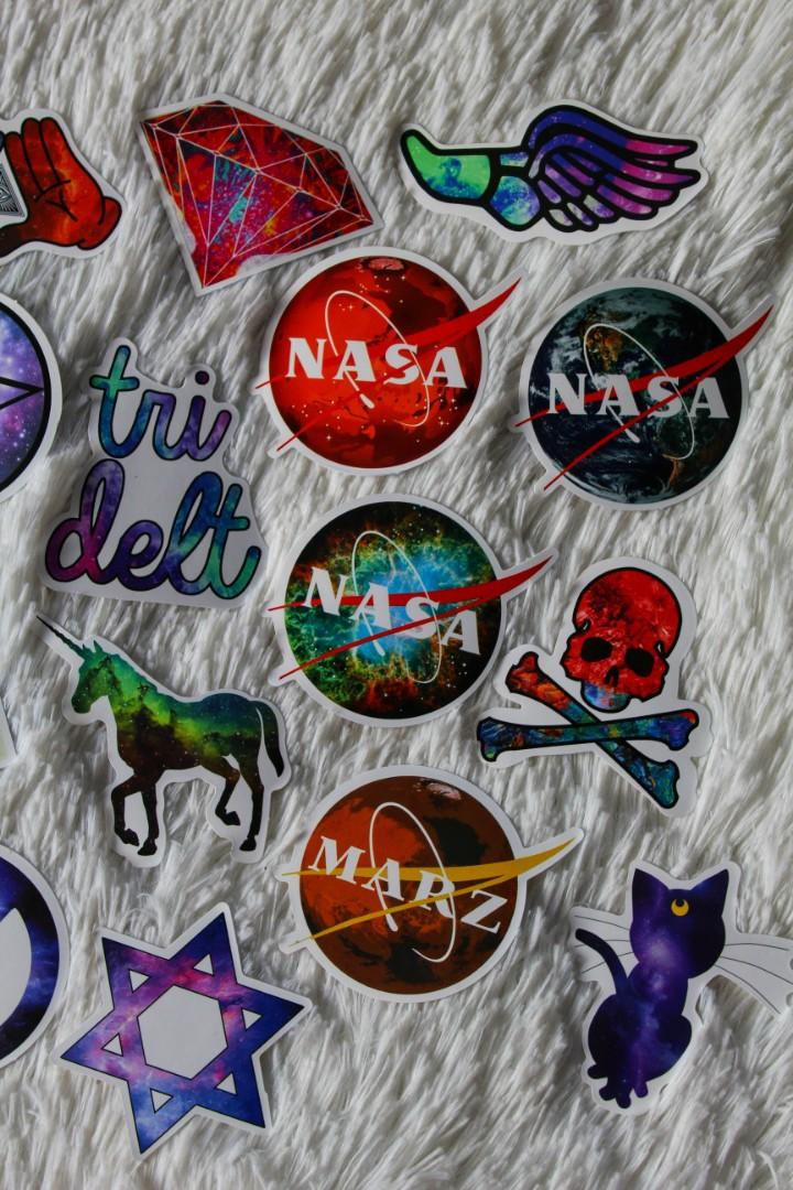 ASSORTED STICKERS • GLOSSY FINISH • GALAXY/ SPACE PACK • SKATEBOARD STICKERS