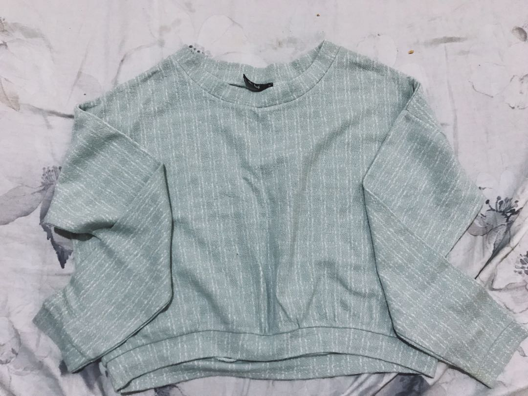 Baby Blue Cropped Sweater Womens Fashion Clothes Tops On Carousell
