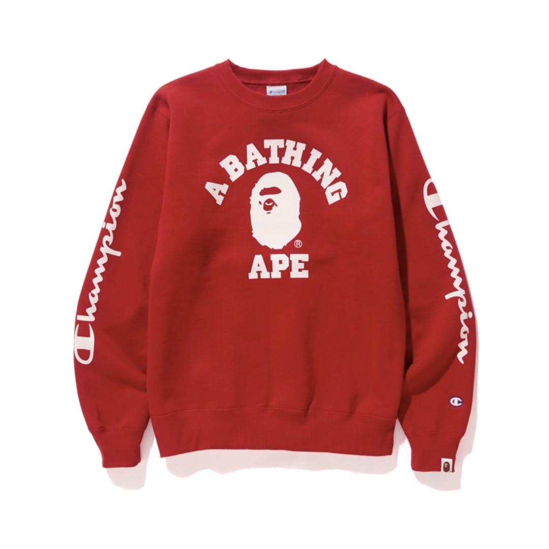 defa36d4 Bape x Champion College Crewneck Red, Men's Fashion, Clothes, Tops ...