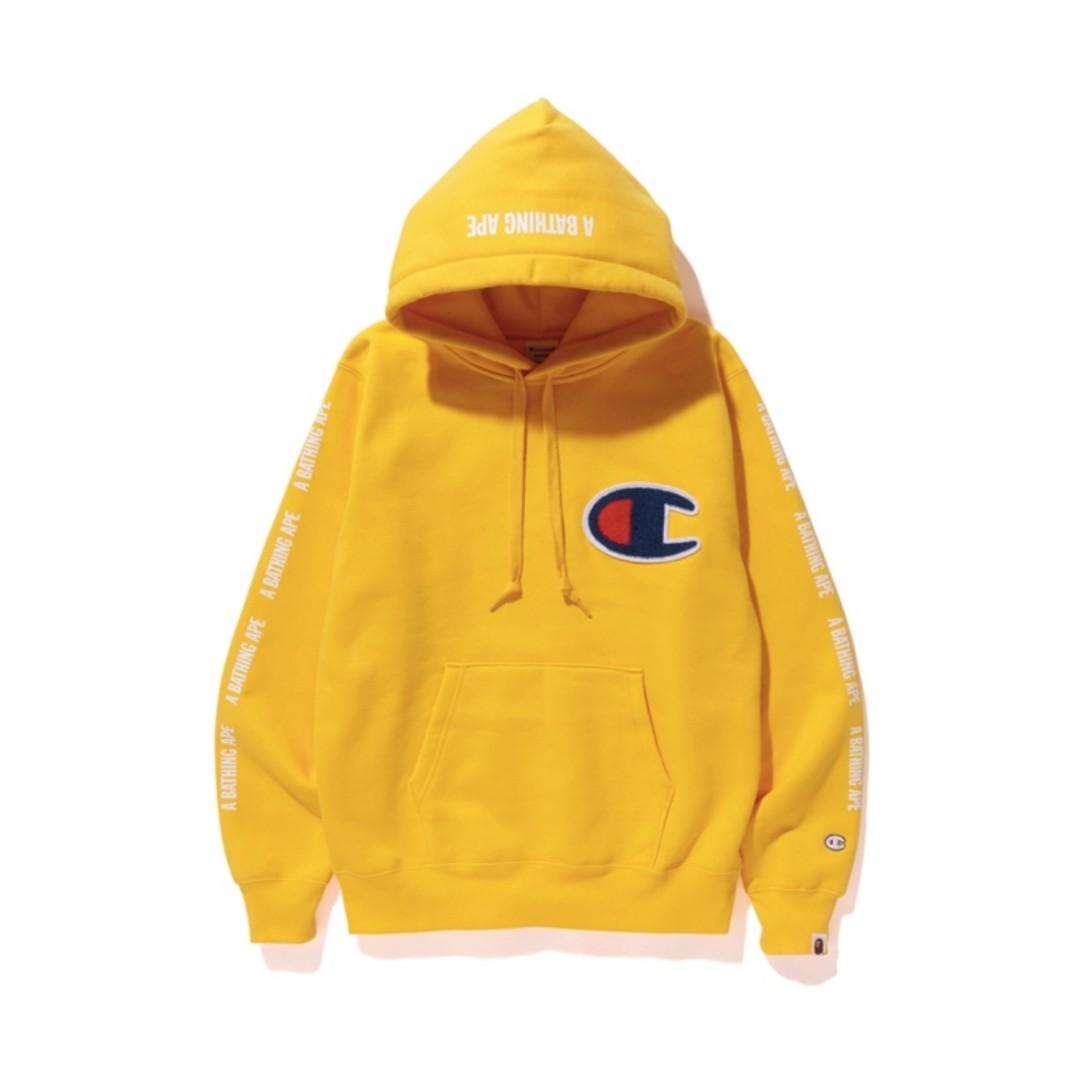 8942999a11b0 Bape x Champion Pullover Hoodie Yellow