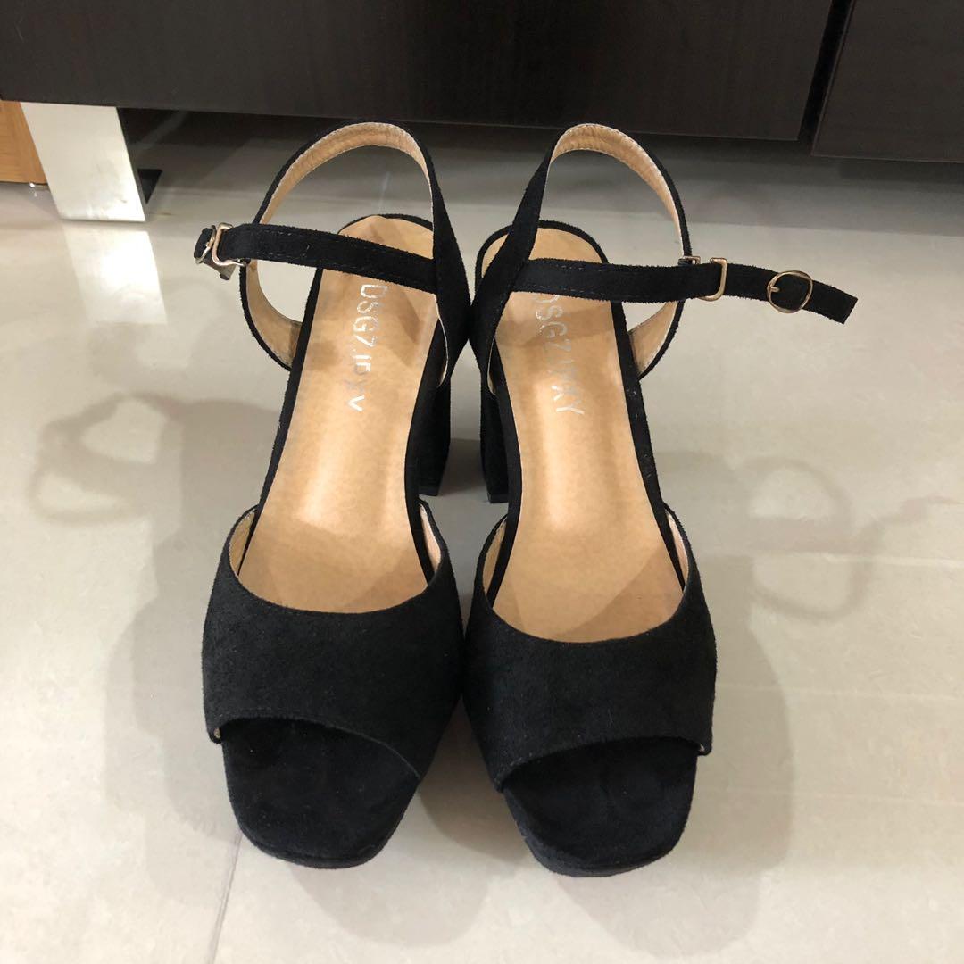 f169ba9d0741 Black suede block heeled sandals