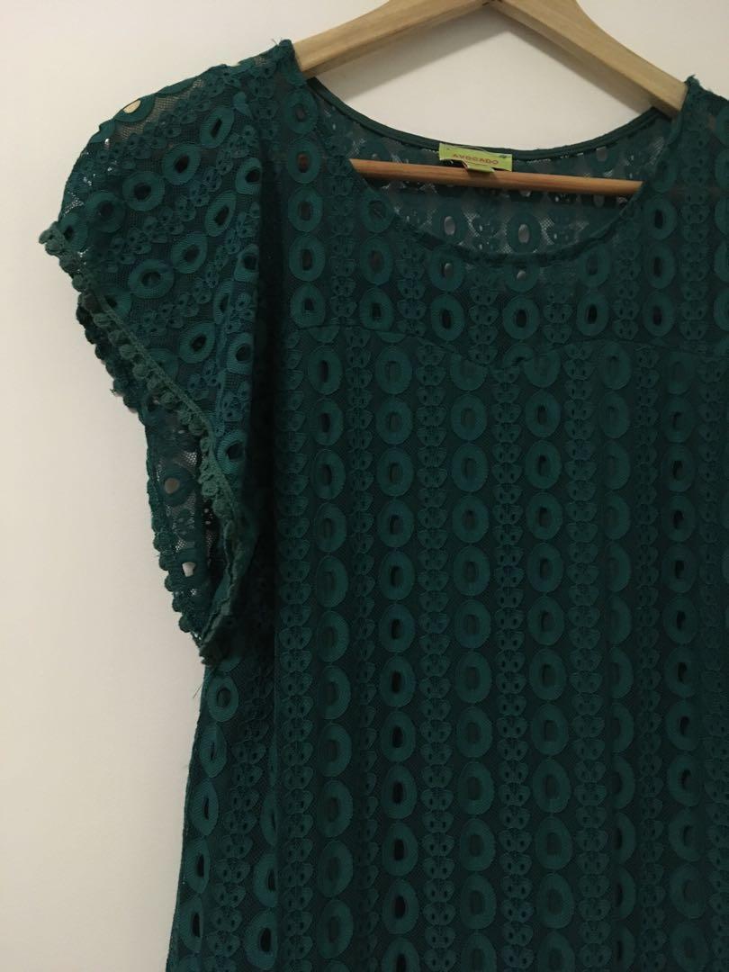 BNWOT Green lace dress