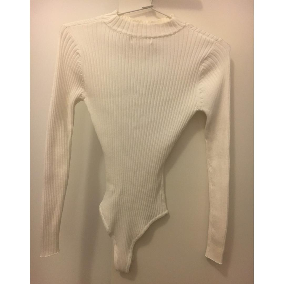 BNWOT White Long Sleeve Knit Bodysuit Size 8 Stelly Dolly Girl Fashion