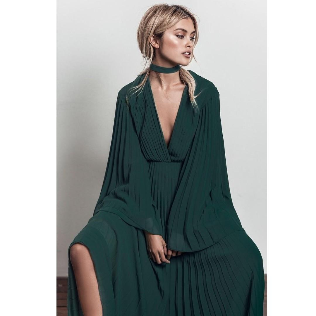 BRAND NEW WITH TAGS FAME & PARTNERS FOREST GREEN LARISSA DRESS SIZE 16 AU RRP 395