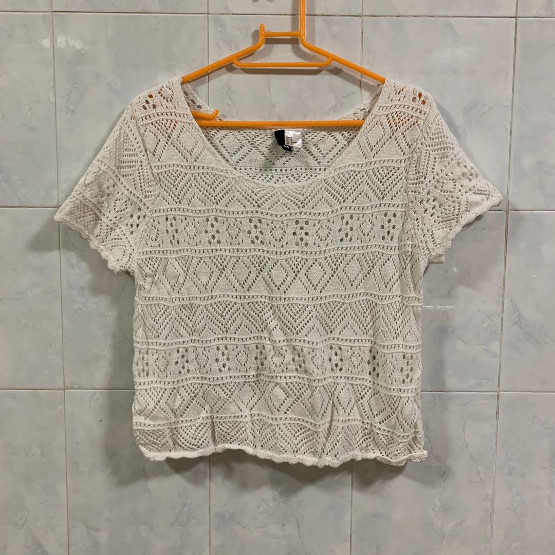 Crochet Knitted White Top From London Womens Fashion Clothes