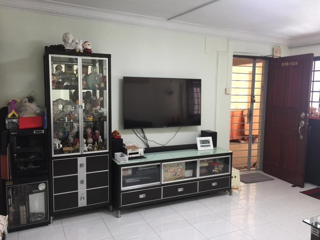 Dark Wood Gl Display Cabinet With