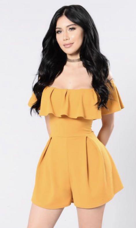 Fashion Nova Mustard romper size Medium
