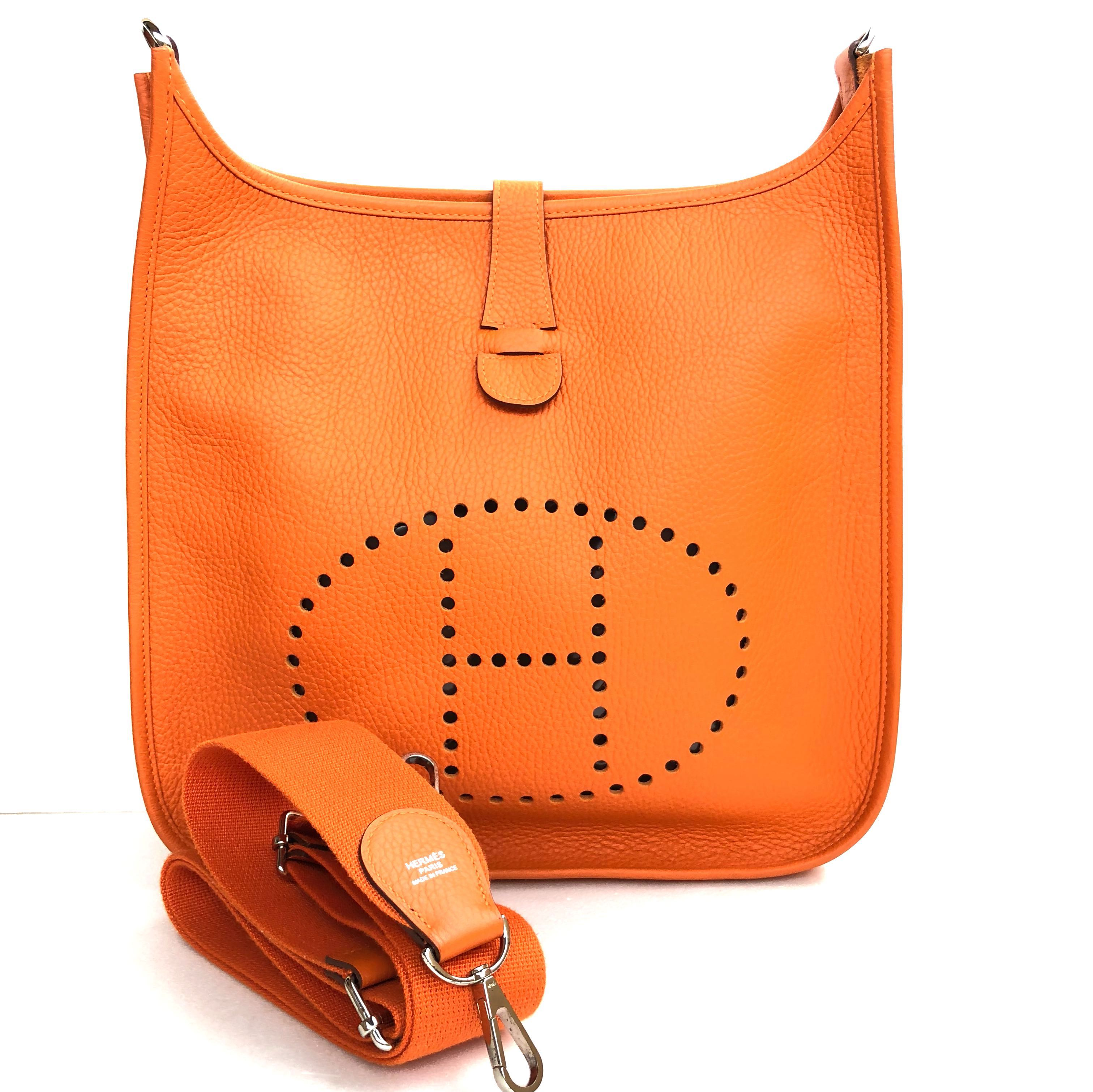 416a25371 Hermes - Orange Evelyne III GM 33 in Taurillon Clémence with PHW ...