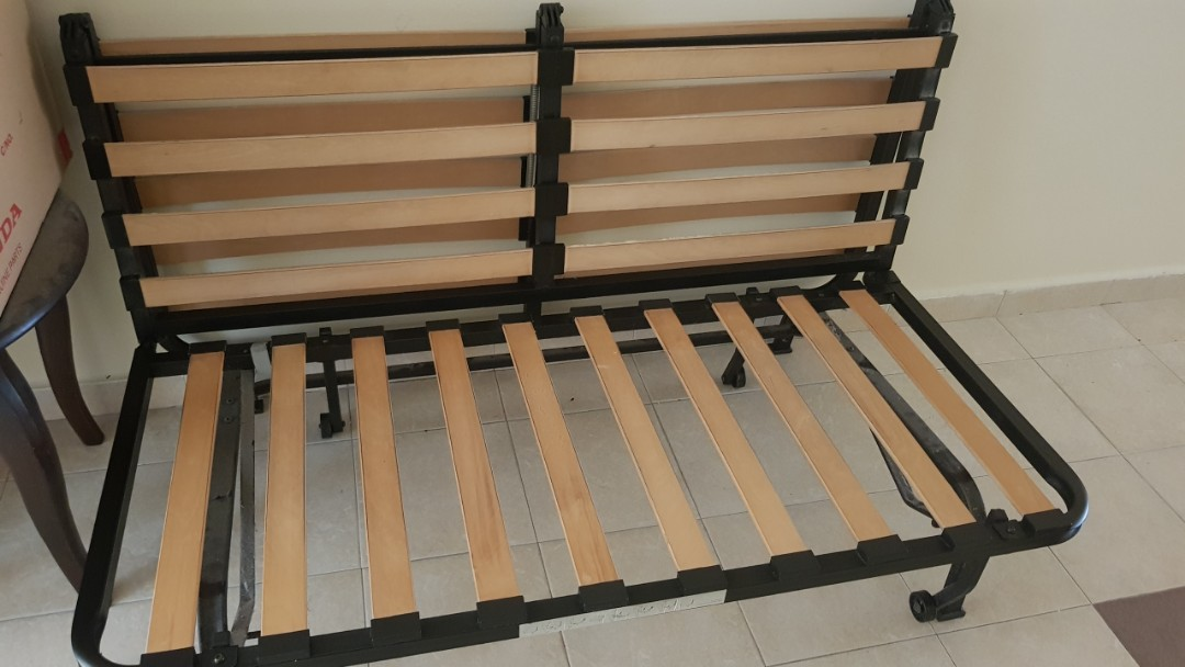 Ikea Black Metal Folding Bed Sofa Frame Double Queen Size Furniture