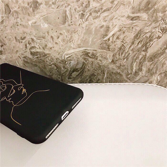 iPhone Casing Soft TPU gold face phone case