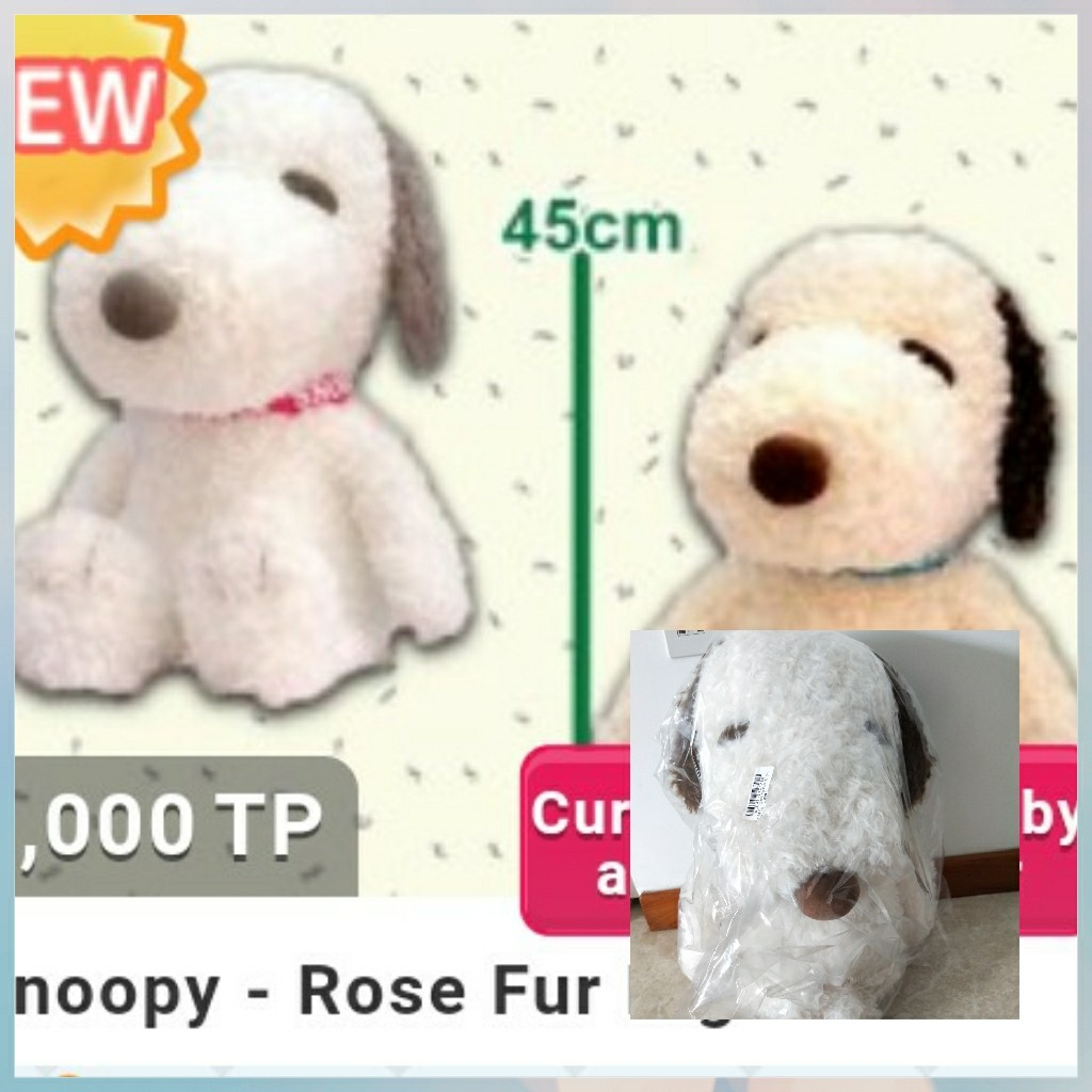 Large Snoopy In Rose Fur Toys Games Stuffed Toys On Carousell