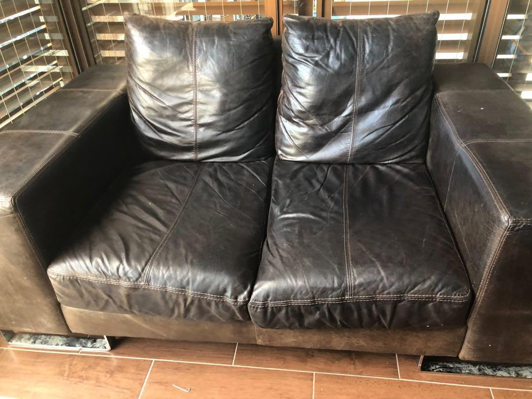 Leather Sofa Two Seater Super Comfy