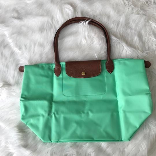 2886364730 Longchamp large Le Pliage Mint Green Nylon Tote, Women's Fashion ...