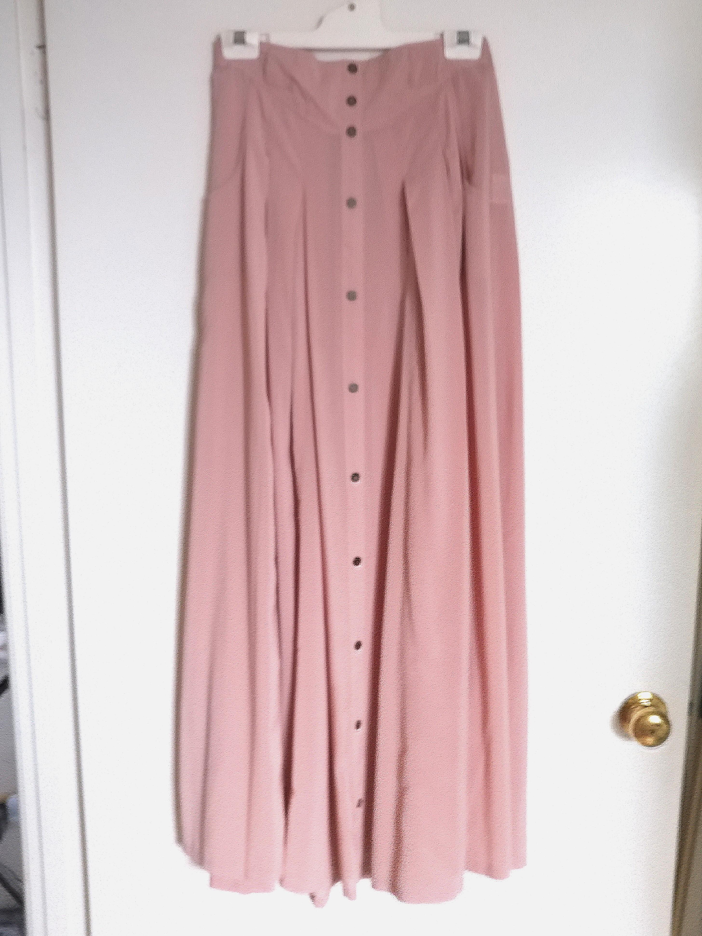 Minkpink Coral Pink Maxi Skirt with Brown Buttons Down AU12