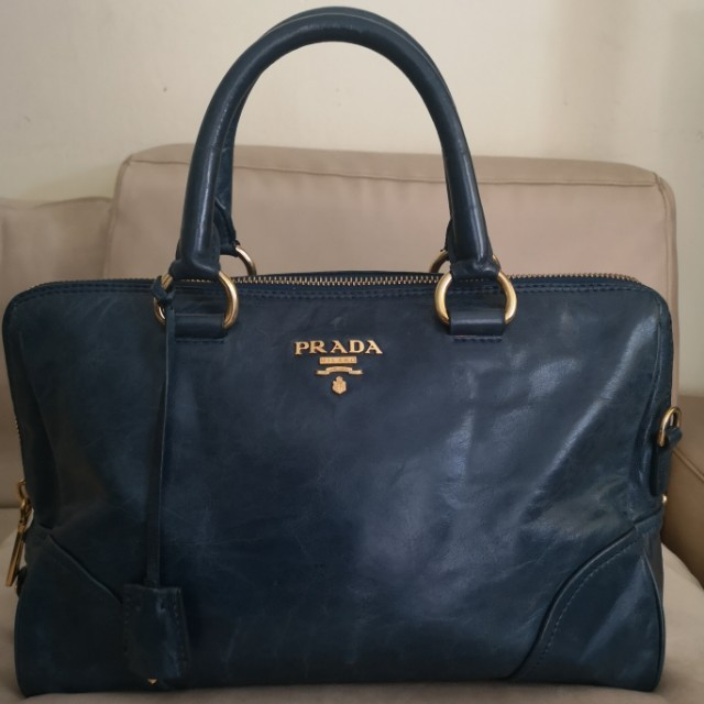 41d414a272 Prada Bag Blue Vitello Shine Leather East West Satchel BL0821 ...