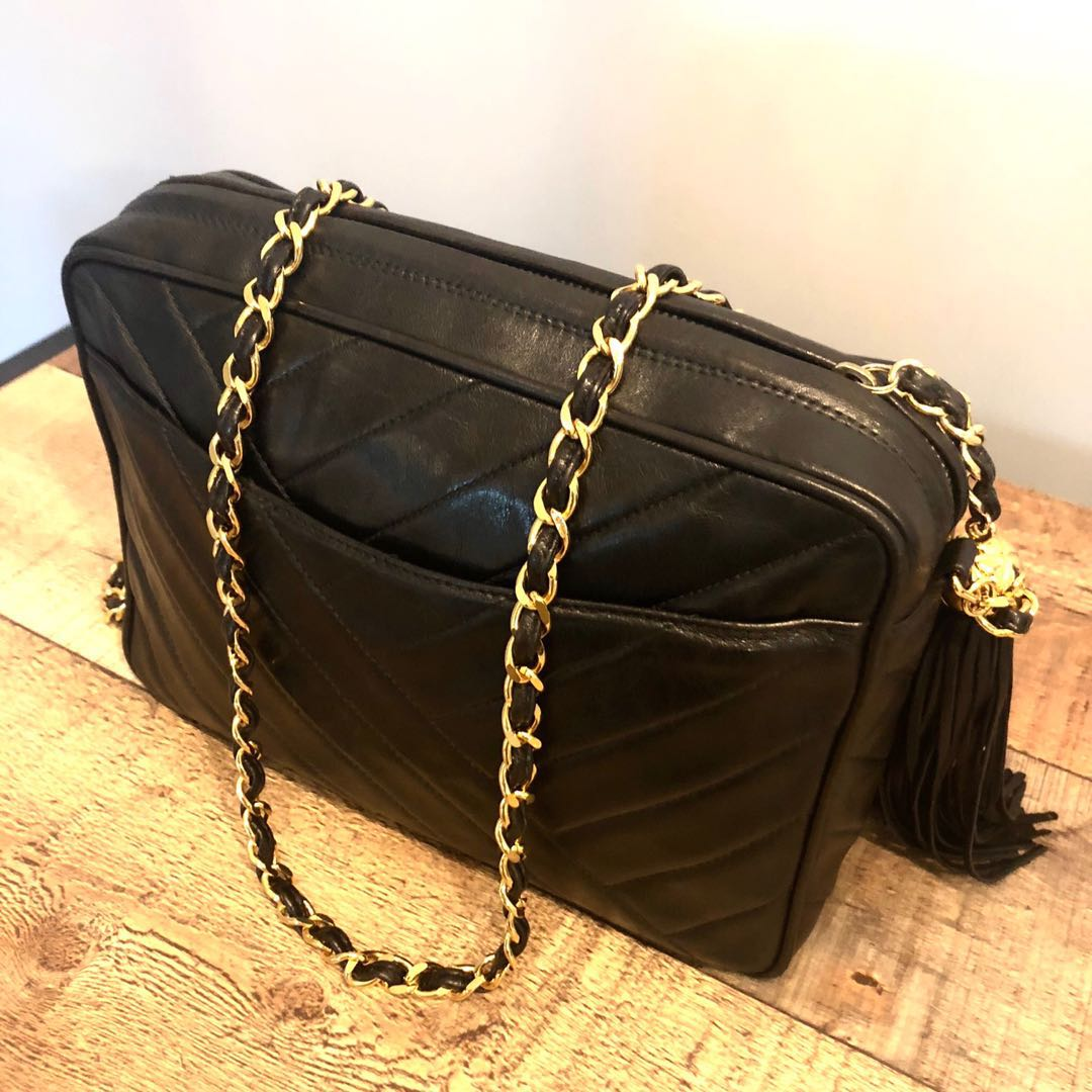 81b30d37acf7 RESERVED Authentic Chanel Lambskin Camera Bag with 24k Gold Hardware ...