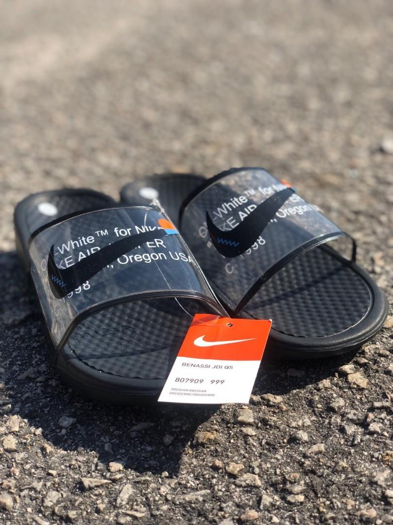 off white nike flip flops