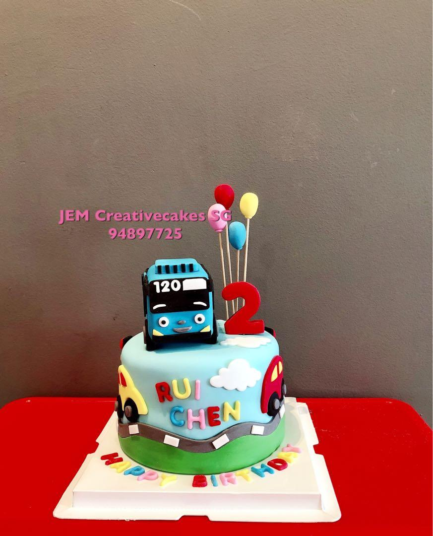 Admirable Tayo Bus Birthday Cake Babies Kids Toys Walkers On Carousell Funny Birthday Cards Online Barepcheapnameinfo