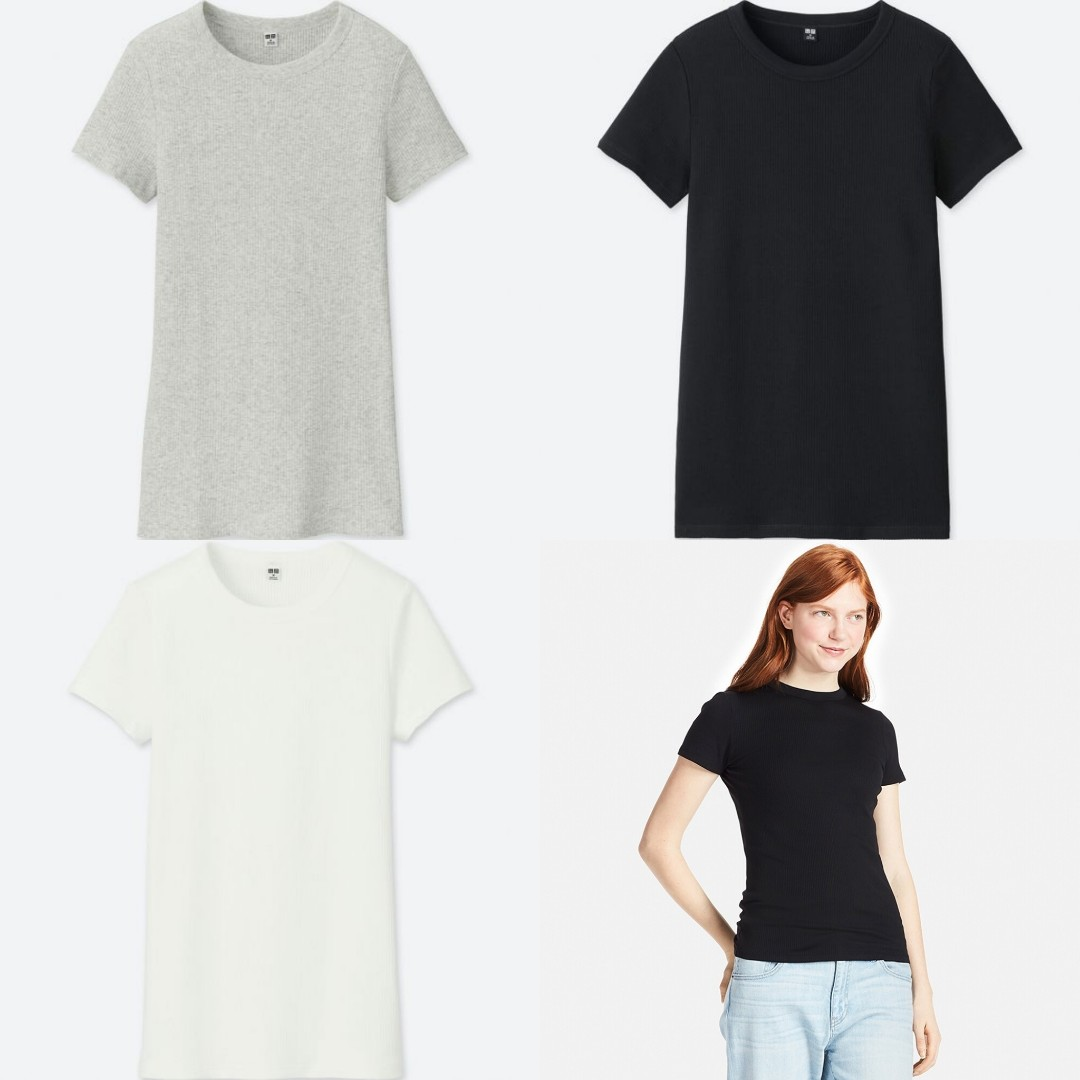 5f64e9f37799 Uniqlo WOMEN Supima Cotton Ribbed Crew Neck Short Sleeve T-Shirt ...