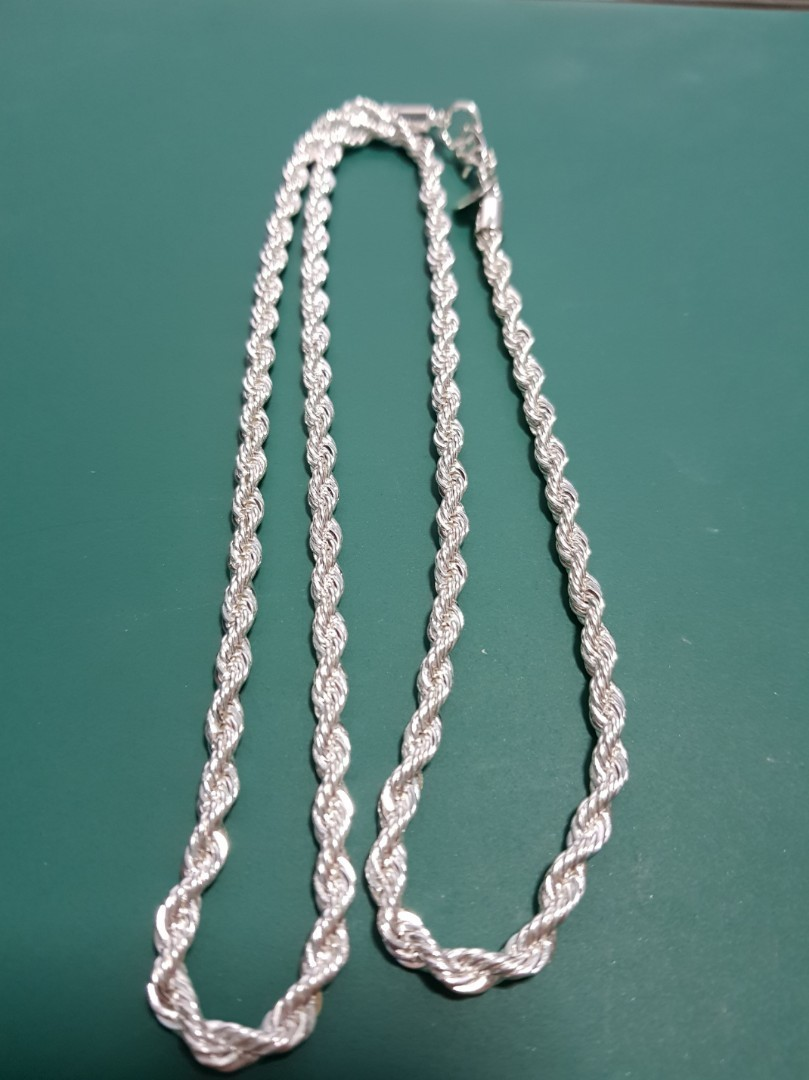 c5cdede073539 Unisex 4mm 925 Sterling Silver Plated Twist Rope Chain Necklace.