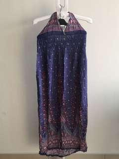 Long Halter Floral Maxi Dress