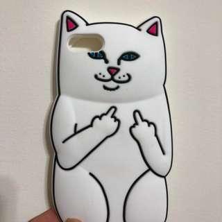 🚚 Iphone8 手機殼 保護殼 文青 白貓咪 中指貓 軟殼
