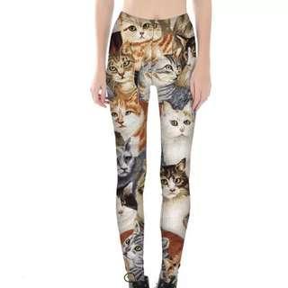 🚚 貓咪數碼印花緊身打底褲