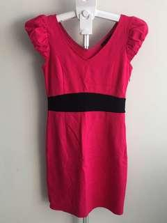 Hot Pink V-neck Dress
