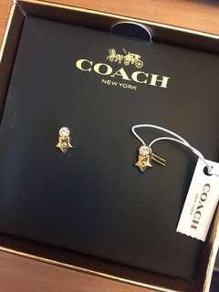 Gold star coach earrings