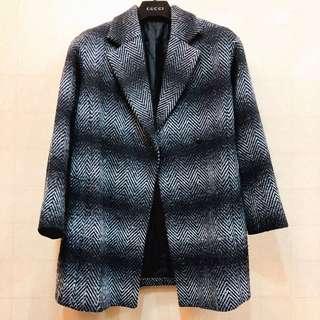 🚚 近全新日本專櫃正品GU翻領挺版山形紋漸層鋪棉毛料毛呢大衣中長款外套