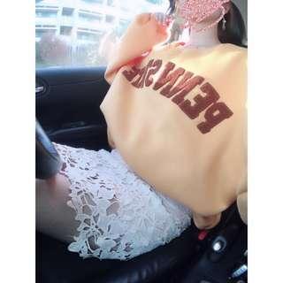 🚚 韓氣質款棒棒噠米白蕾絲花裙 ❤️