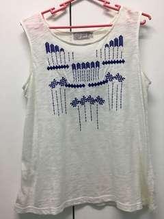 Just g white sleeveless aztec top