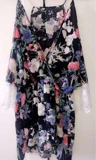 Black Floral Romper with White Lace