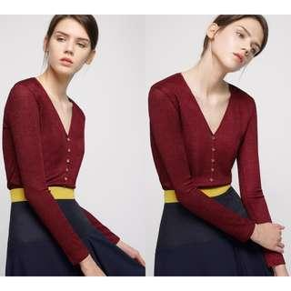 Saturday Club V-Neck Knit Blouse With Button Front (Wine)