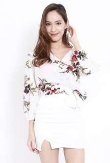 Floral Wraparound Top in White