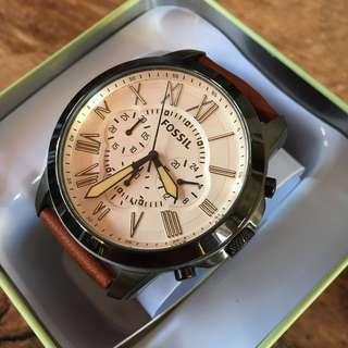 Fossil Grant Chronograph Cream Dial/Brown Leather Men's Watch