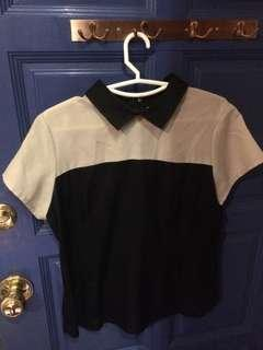 Beige/black top with collar