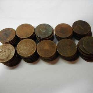 Straits Settlements 1 Cent Copper Coins 100 Pieces For $20