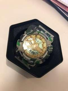 A Bathing Ape x G-Shock GA-110 Camouflage and Gold Watch for BAPE