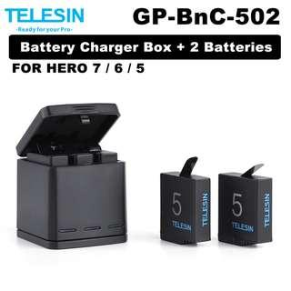 🚚 Telesin Gopro Hero 7 6 5 Battery Charger and 2 Batteries Kit