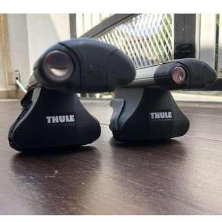 THULE AERO BAR COMPLETE SET WITH RAPID FIRE & FOOT KIT SYSTEM + ORIGINAL KEY